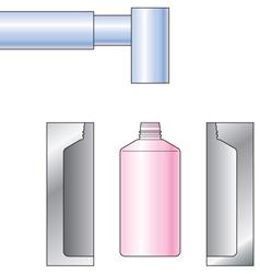 5型開き(冷却後金型を開く)6製品取出し(口部・底部のバリを取り除く)