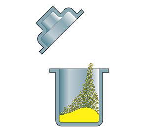 1原料投入(金型の中にパウダー状の樹脂を投入する)